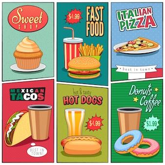 Set de mini carteles de comida rápida