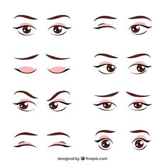 Set de miradas femeninas dibujadas a mano