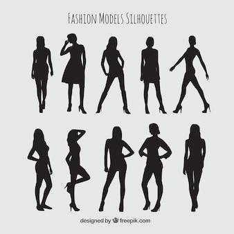 Set de moda de siluetas de modelos