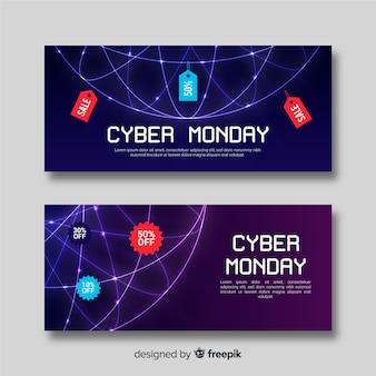 Set moderno de banners de rebajas de cyber monday