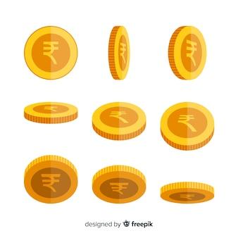 Set de monedas de rupias indias en diferentes posiciones