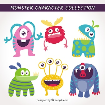 Set de monstruos graciosos en estilo hecho a mano