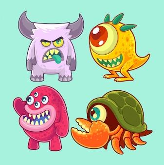 Set de monstruos lindos y divertidos