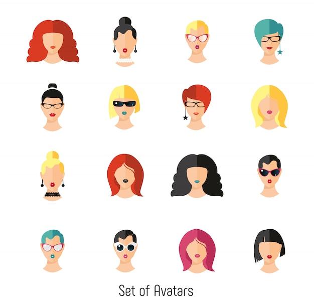 Set mujer cara color peinado. ilustración vectorial de las niñas.