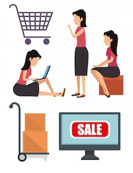 Set mujer con paquetes y compras en línea en la computadora