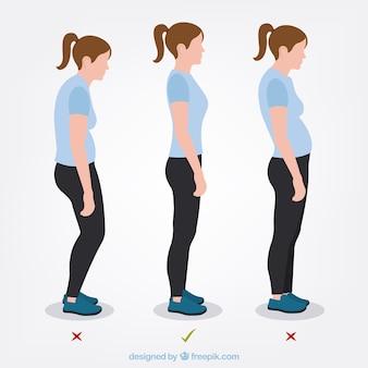 Set de mujer con postura correcta e incorrecta