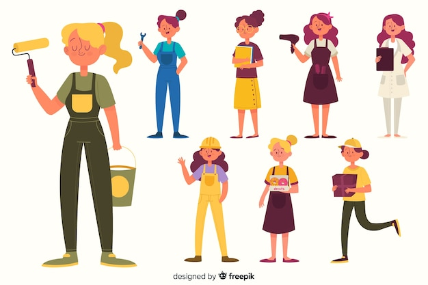 Set de mujeres trabajando