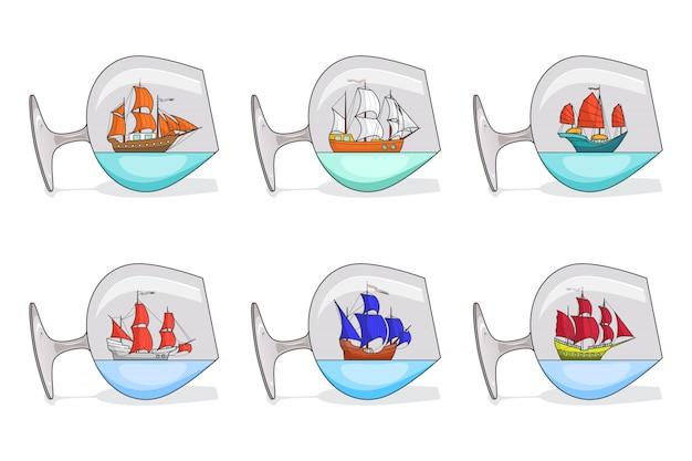 Set de naves de color con velas en copas. recuerdos con el velero aislado en el fondo blanco. decoración itinerante. línea plana de arte. ilustración vectorial para viaje, turismo, agencia de viajes, hoteles.