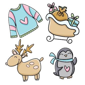 Set de navidad e invierno: reno, suéter, pingüino y trineo con regalos