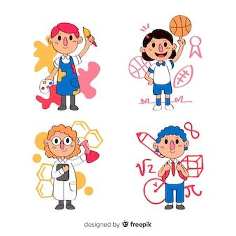 Set de niños dibujados en la vuelta al cole