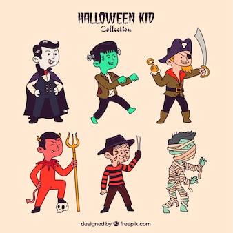 Set de niños disfrazados dibujados a mano