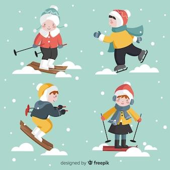 Set de niños en invierno