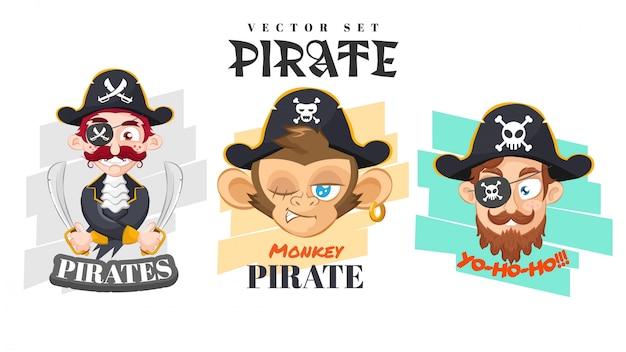 Set de niños piratas planos