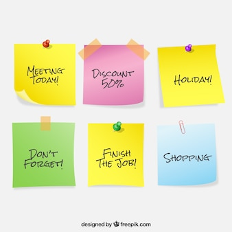 Set de notas de colores con mensajes