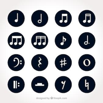 Set de notas musicales blancas con fondos redondos