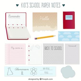 Set de notas de papel de colegio