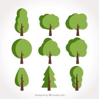 Set de nueve árboles planos en tonos verdes