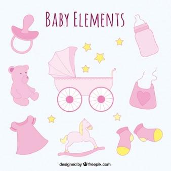 Set de objetos de bebé dibujados a mano