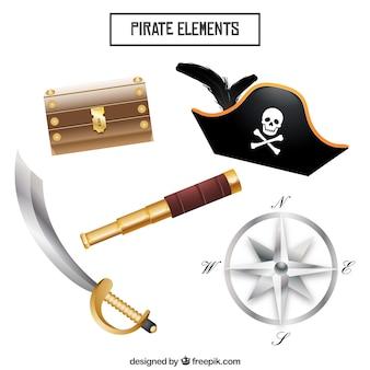Set de objetos de piratas