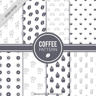 Set de ocho patrones de café en diseño plano