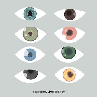 Set de ojos de colores en diseño plano