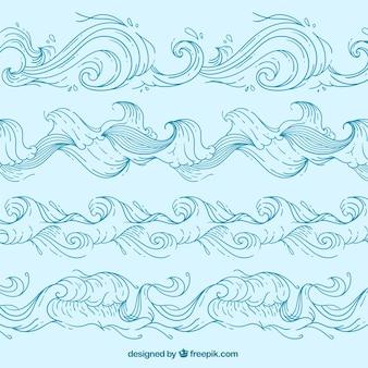 Set de olas dibujadas a mano