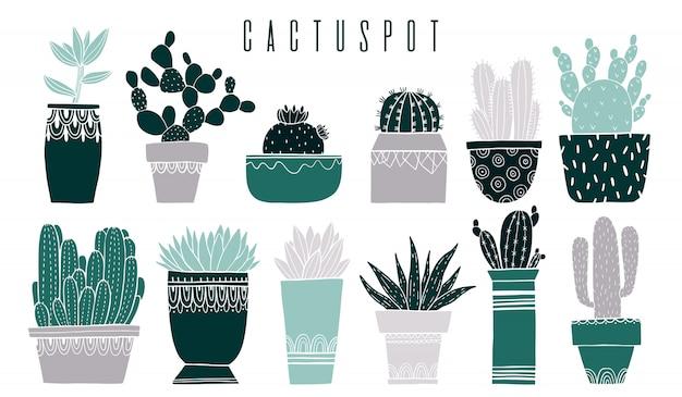 Set olla de cactus y suculentas en estilo boceto.