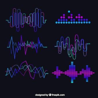 Set de ondas sonoras abstractas con detalles morados