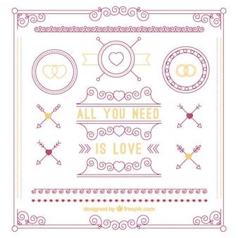 Set de ornamentos de amor