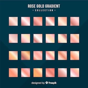 Set oro rosa degradado textura metálica