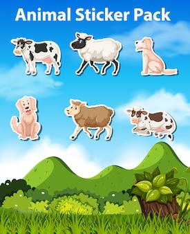 Set de pack de pegatinas de animales