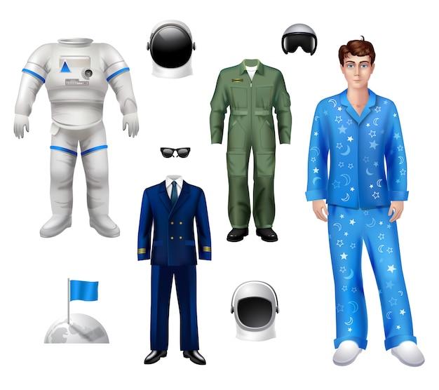Set de pack de personajes de chico astronauta