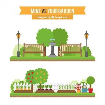 Set de paisajes de jardín planos