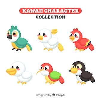 Set de pajaros en estilo kawaii