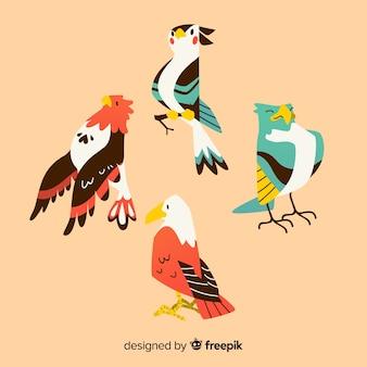 Set de pájaros tropicales dibujados