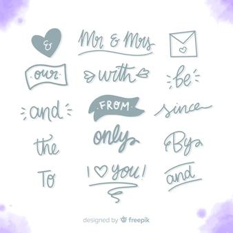Set de palabras de boda dibujadas