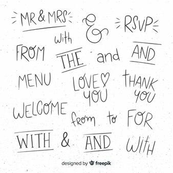 Set de palabras de boda a mano