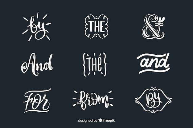 Set de palabras escritas para bodas