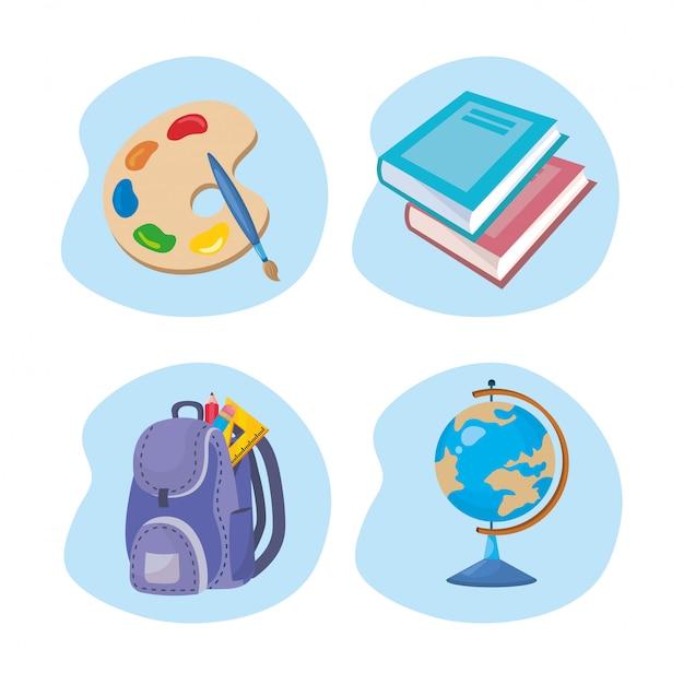 Set de paleta de arte con libros y mochila con mapa global.