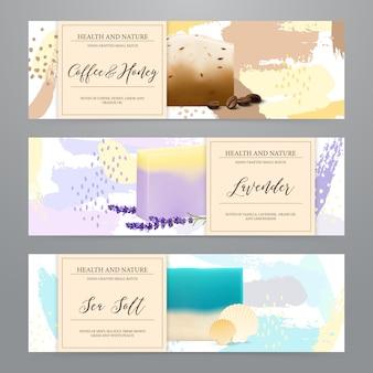 Set de pancartas realistas de envases de jabón