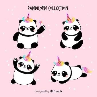 Set de pandas en estilo kawaii con apariencia de unicornio