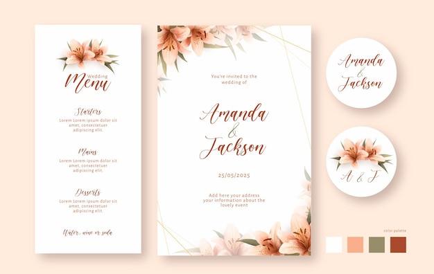 Set de papelería de boda en acuarela detallada con lirios
