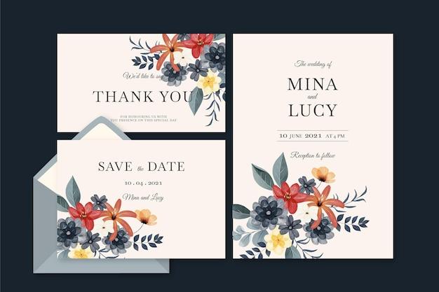 Set de papelería de boda botánica dramática acuarela