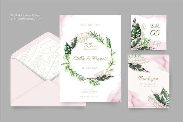 Set de papelería floral aniversario 25 años.
