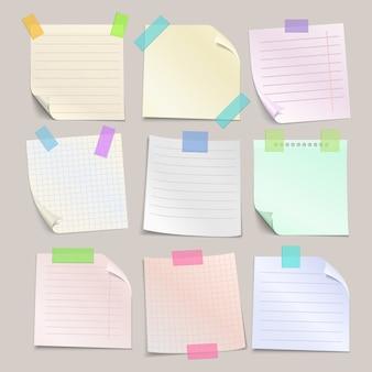 Set de papeles de notas adhesivas