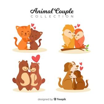 Set pareja animales san valentín dibujadas a mano