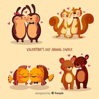 Set de parejas adorables de animales en día de san valentín