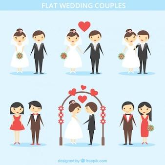 Set de parejas adorables recién casadas