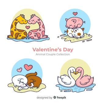 Set parejas animales san valentín dibujadas a mano