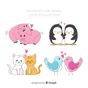 Set de parejas de animales en san valentín